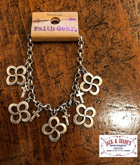 Faith Gear Women's Bracelet Swirl Cross Gold