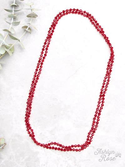 "The Essential Skinny 60"" Double Wrap Beaded Necklace Red 6mm"