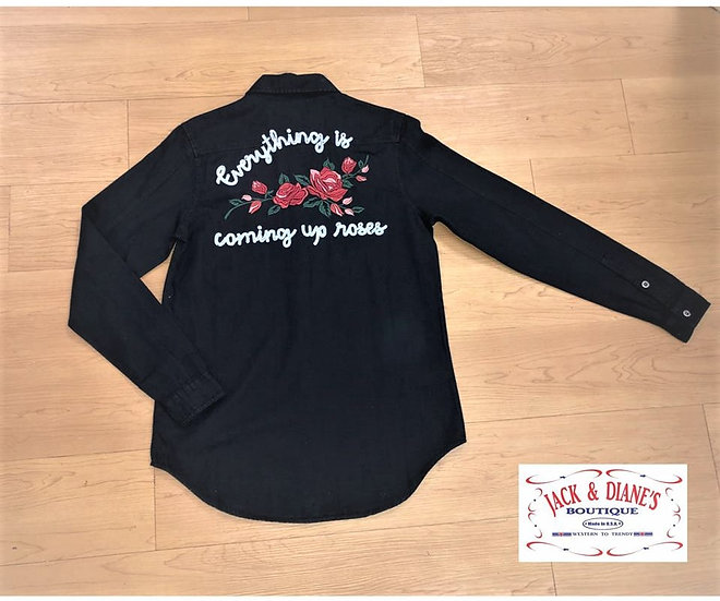 Rock & Roll Cowgirl Black Long Sleeve Everything is coming up roses Shirt