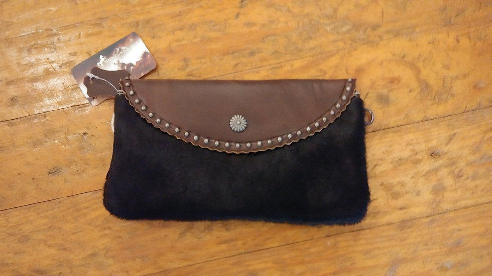 Montana West Brown Leather and Black Hide Handbag