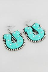 Burnished Silvertone and Turquoise Western Horseshoe Earrings