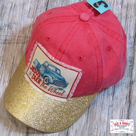 Gold Glitter and Red Cap with Jesus Take the Wheel Patch