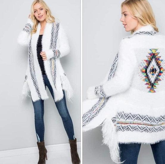 Fuzzy Aztec Print Long Sleeve Cardigan