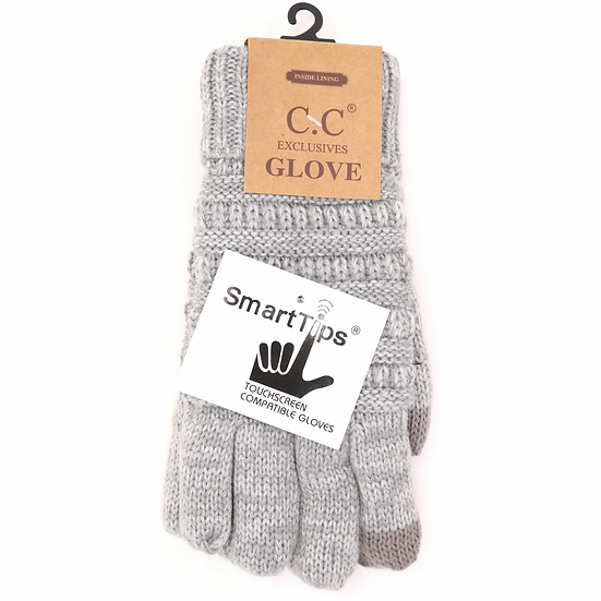 C.C Two Toned Ribbed Lined Gloves