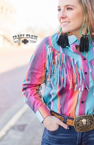 Crazy Train Rodeo Rig Top Serape Fringe Long Sleeve Button Up