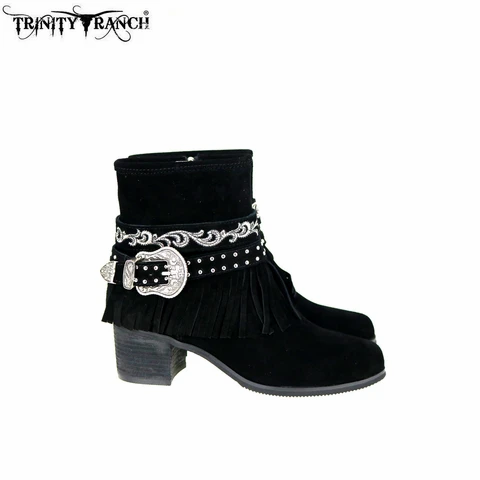 Montana West USA Trinity Ranch Western Suede Booties with Buckle