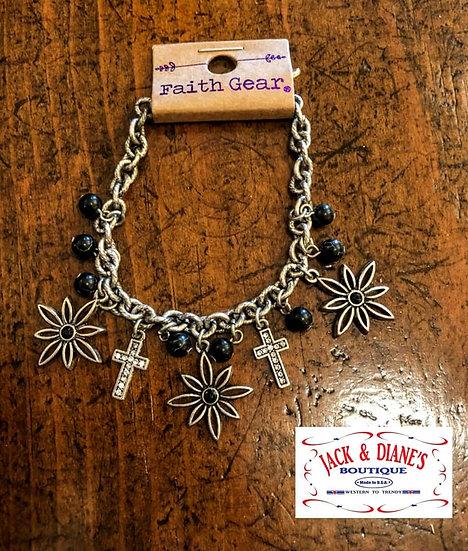 Faith Gear Women's Bracelet Flower Cross Copper