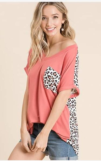 Coral Leopard Top