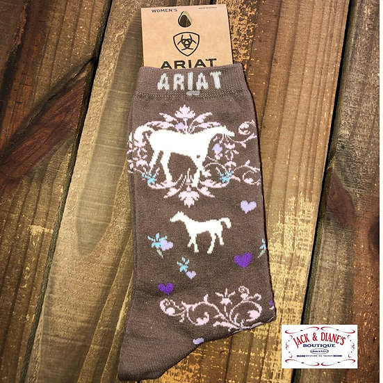 Ariat Women's Brown Socks with Horses