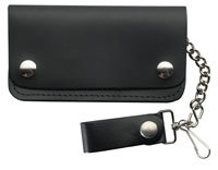 Black Biker Leather Chained Wallet