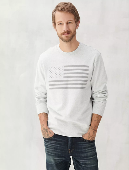 Lucky Brand USA Flag Crew Sweatshirt