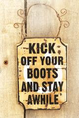 """Kick Off Your Boots"" Mini Wood Wall Sign"