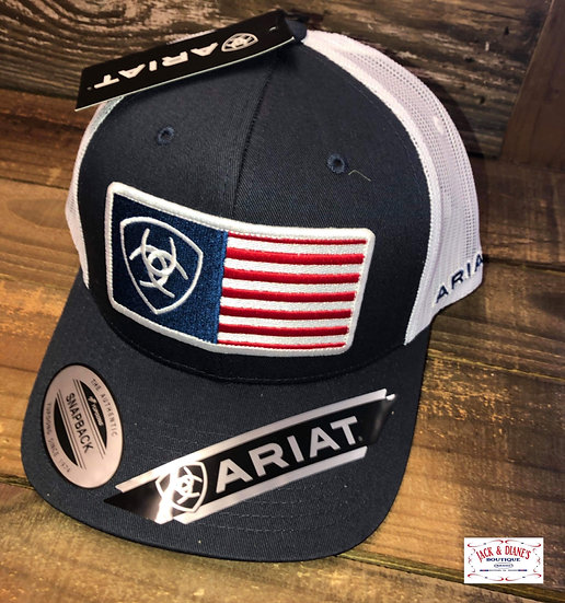 Ariat Mens Navy Cap With Flag Patch