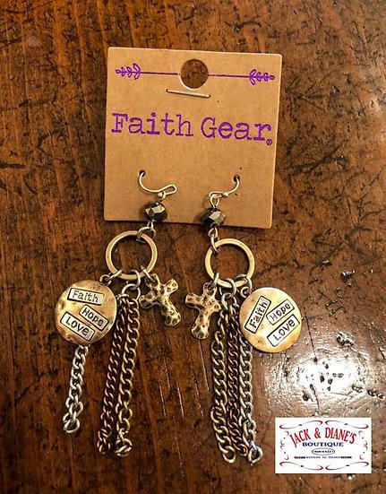 Faith Gear Women's Earrings Faith Hope Love