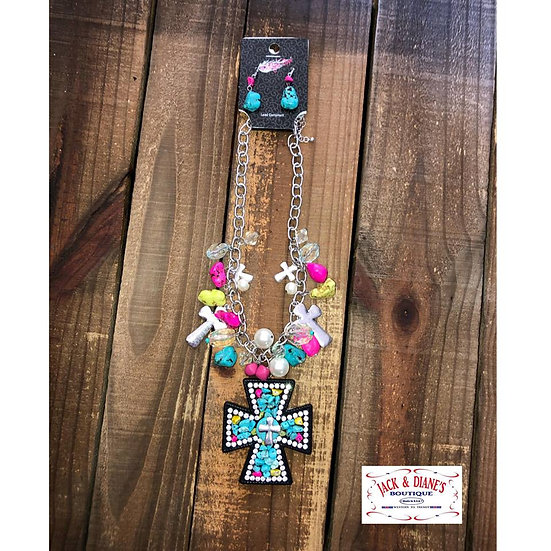 Large Beaded Cross with Crystals and Earrings Set