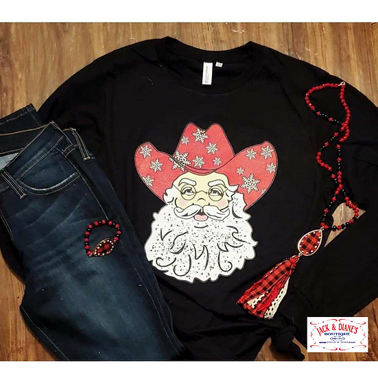 Cowboy Santa Christmas Long Sleeve Tee