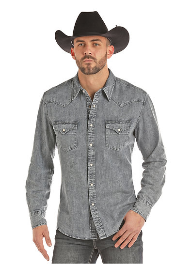 ROCK & ROLL COWBOY WASHED DENIM SOLID WITH HEAVY STITCHING PEARL SNAP.