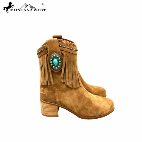 Montana West USA Trinity Ranch Western Leather Suede  Brown Booties with Fringe