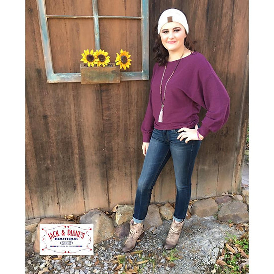 Lucky Brand Cloud Ribbed Dolman Pullover Wine Tasting Top