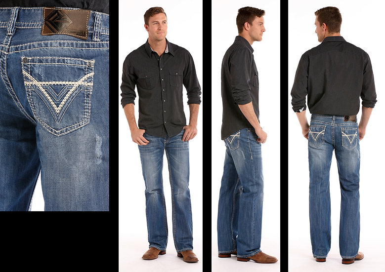 ROCK & ROLL COWBOY MEN'S DOUBLE BARREL RELAXED FIT IN MEDIUM WASH