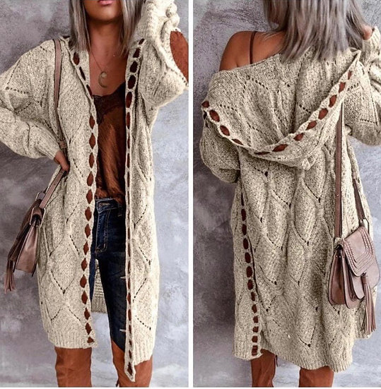 Knit Hooded Cardigan with Wide Yarn Detail