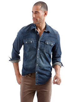 Lucky Brand Denim Long Sleeve Men's with Pearl Snaps