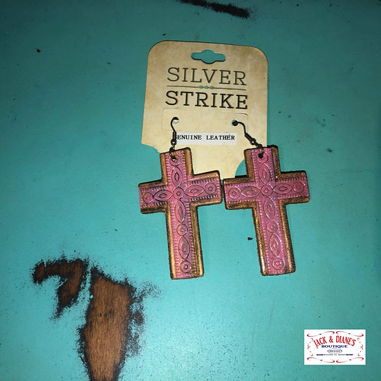 Silver Strike Leather Stamped Pink Cross Earrings