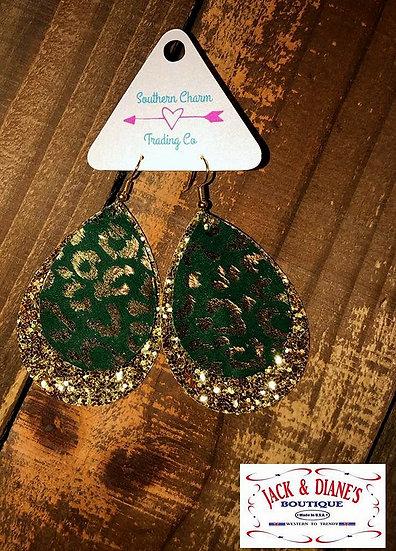 Green Gold Metallic Leopard & Gold Glitter Layered Teardrops Earrings