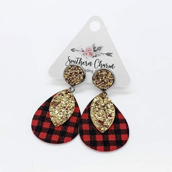 "Southern Charm 2"" Gold & Gold Glitter red buffalo plaid Dangles"