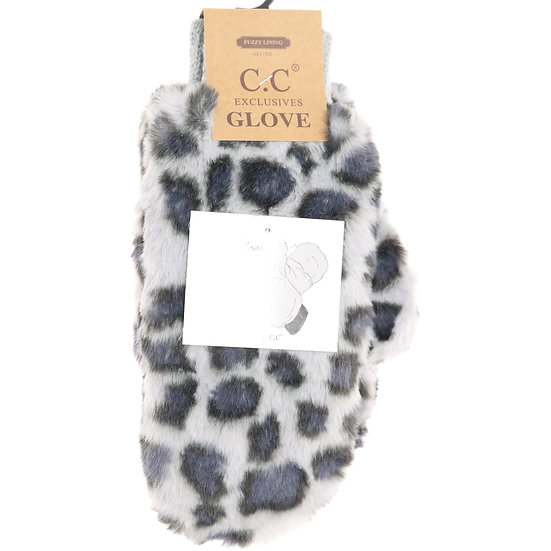 C.C Leopard Faux Fur Mitten Gloves