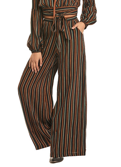Rock & Roll Cowgirl STRIPED PALAZZO PANTS WITH ZIP