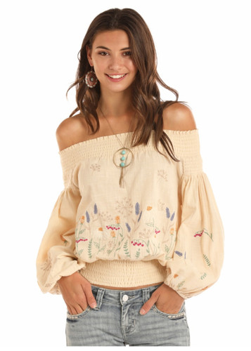 40848636e0b398 Rock   Roll Cowgirl Off Shoulder Peasant Blouse