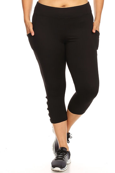 Brushed Solid Black capris Sports Leggings Yoga Pants with Side Phone pockets