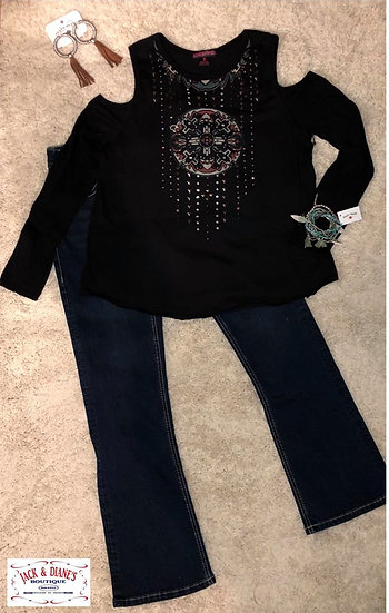 Panhandle Womens Cold Shoulder Black Long Sleeve with Studded Beads 2