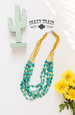 Crazy Train The River Stone Necklace Mustard Turquoise