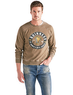 Lucky Brand Dark Olive GUINNESS Sweat Shirt Long Sleeve