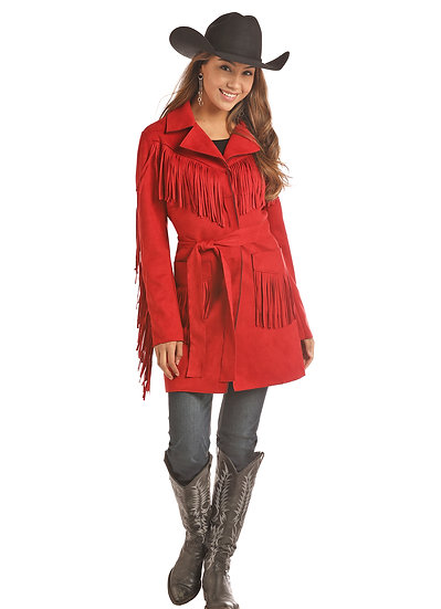 Powder River Women's Red Suede Leather Fringe Coat with waist Tie