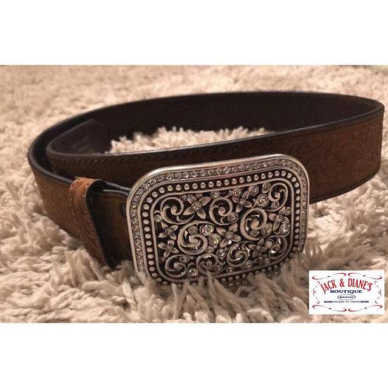 Ariat Women's Medium Brown Rhinestone Filigree Belt