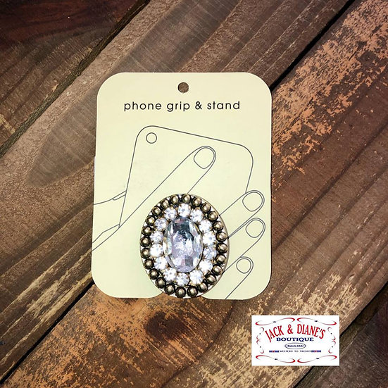 Crystal Oval Brooch Phone Grip and Stand