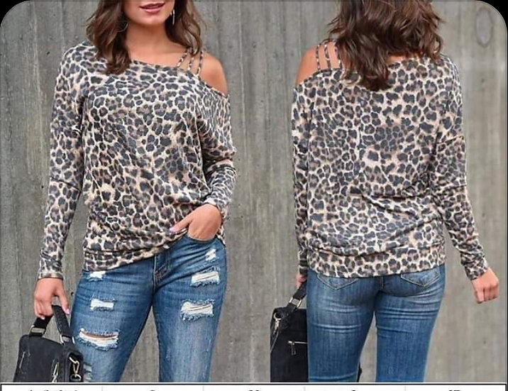 Leopard Print Cold Shoulder with Straps Top