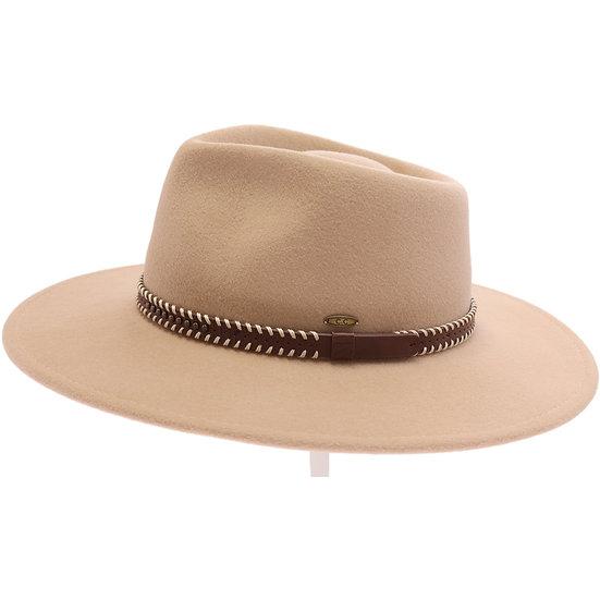 C.C Leather Band Wool Felt Brim Hat