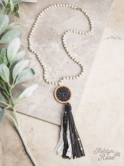 Glitter and Glam Statement Necklace with Medallion and Tassel