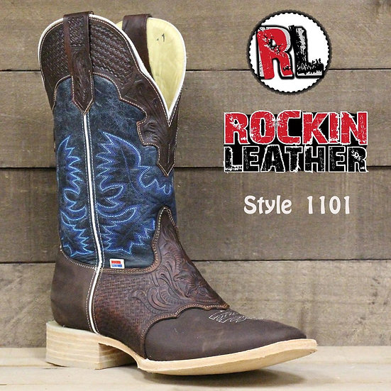 1101 - RockinLeather Men's Hand Tooled Overlay Western Boot