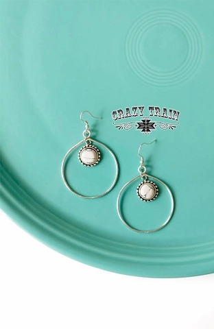 Crazy Train BEAR CREEK EARRINGS  WHITE