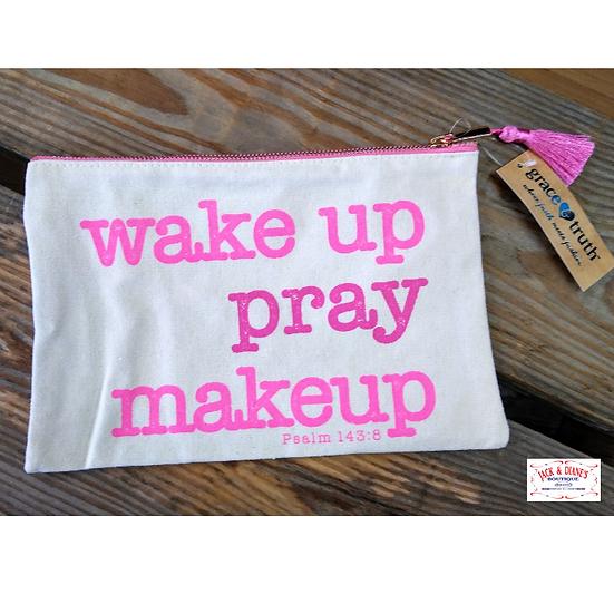 Wake Up Pray Makeup Canvas Zipper Bag Psalm 143:8