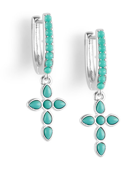 Lucky Brand Horseshow Style Hoop Earrings with Turquoise Studs