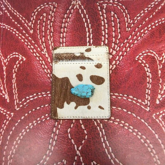 Cowhide Phone Wallet Sticker with Turquoise Stone