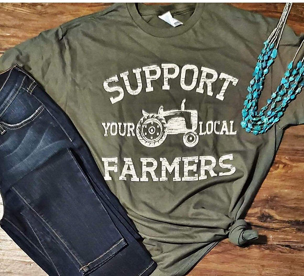 SUPPORT YOUR LOCAL FARMERS Army Green Short Sleeve Tee