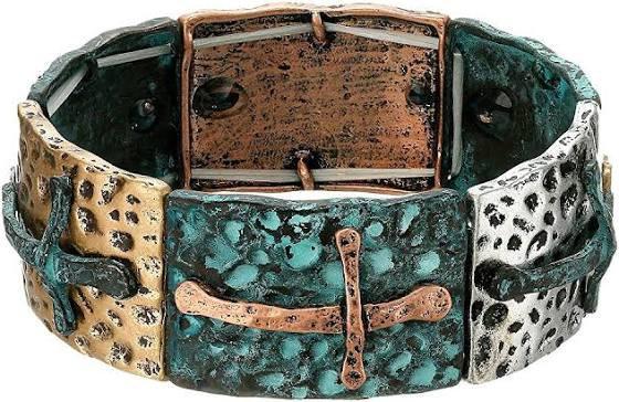 Blazin Roxx Mixed Metal with Crosses Stretch Bracelet