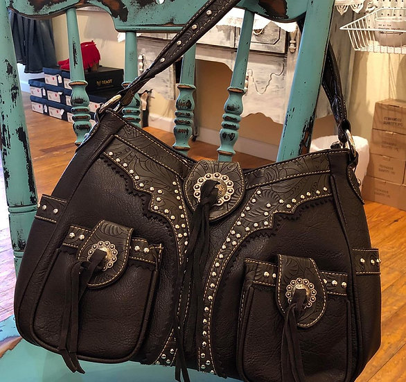 Montana West Concho Collection Concealed Handgun Hobo Purse Coffee
